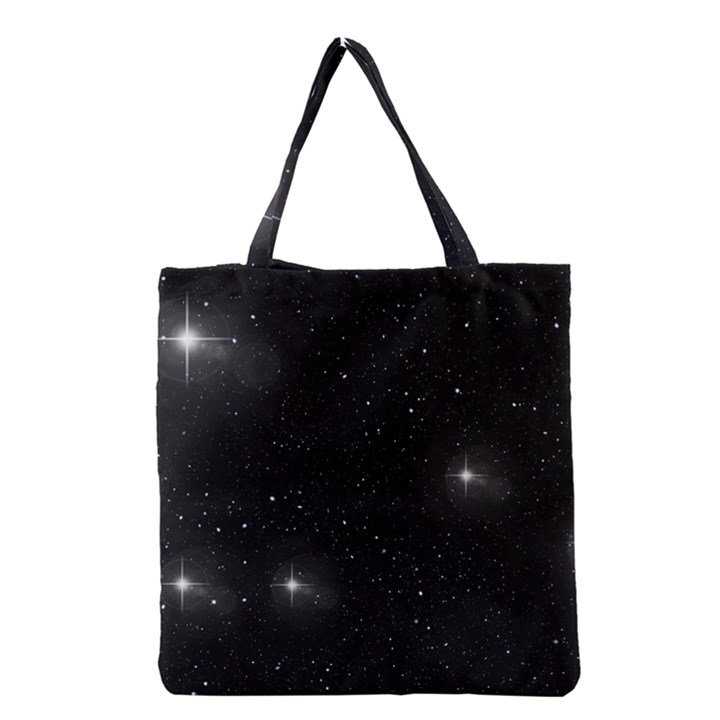 Starry Galaxy Night Black and White Stars Grocery Tote Bag