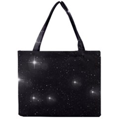 Starry Galaxy Night Black And White Stars Mini Tote Bag by yoursparklingshop