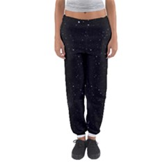 Starry Galaxy Night Black And White Stars Women s Jogger Sweatpants by yoursparklingshop