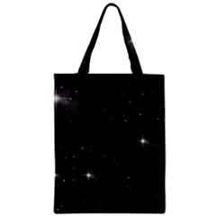 Starry Galaxy Night Black And White Stars Zipper Classic Tote Bag by yoursparklingshop