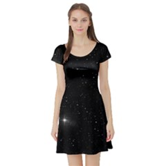 Starry Galaxy Night Black And White Stars Short Sleeve Skater Dress by yoursparklingshop