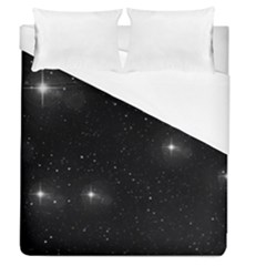 Starry Galaxy Night Black And White Stars Duvet Cover (queen Size) by yoursparklingshop