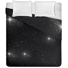 Starry Galaxy Night Black And White Stars Duvet Cover Double Side (california King Size) by yoursparklingshop