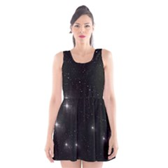 Starry Galaxy Night Black And White Stars Scoop Neck Skater Dress by yoursparklingshop