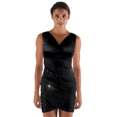 Starry Galaxy Night Black And White Stars Wrap Front Bodycon Dress by yoursparklingshop