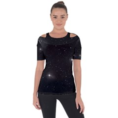 Starry Galaxy Night Black And White Stars Short Sleeve Top by yoursparklingshop