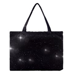 Starry Galaxy Night Black And White Stars Medium Tote Bag by yoursparklingshop