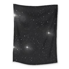 Starry Galaxy Night Black And White Stars Medium Tapestry by yoursparklingshop