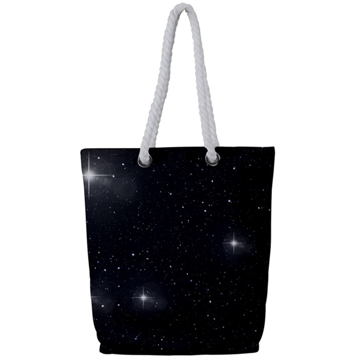 Starry Galaxy Night Black and White Stars Full Print Rope Handle Bag (Small)