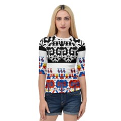 Bulgarian Folk Art Folk Art Quarter Sleeve Raglan Tee by Celenk