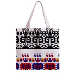 Bulgarian Folk Art Folk Art Zipper Grocery Tote Bag by Celenk