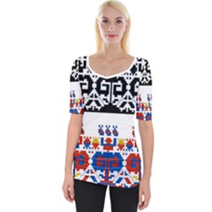 Bulgarian Folk Art Folk Art Wide Neckline Tee by Celenk