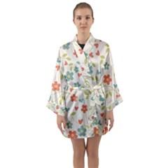 Abstract Art Background Colorful Long Sleeve Kimono Robe