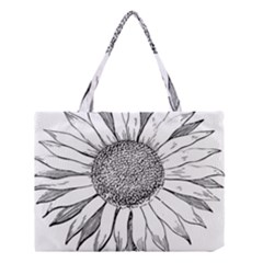 Sunflower Flower Line Art Summer Medium Tote Bag by Celenk