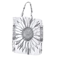Sunflower Flower Line Art Summer Giant Grocery Zipper Tote by Celenk
