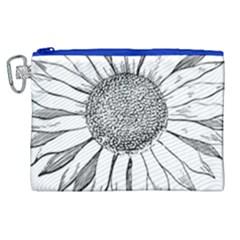 Sunflower Flower Line Art Summer Canvas Cosmetic Bag (xl) by Celenk