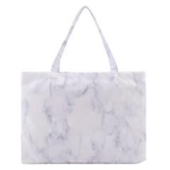 Marble Texture White Pattern Zipper Medium Tote Bag by Celenk