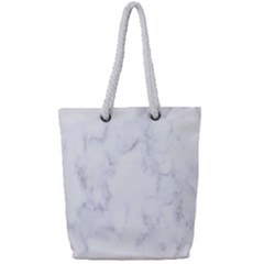 Marble Texture White Pattern Full Print Rope Handle Bag (small) by Celenk