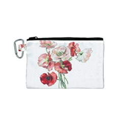 Flowers Poppies Poppy Vintage Canvas Cosmetic Bag (small)