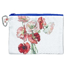 Flowers Poppies Poppy Vintage Canvas Cosmetic Bag (xl) by Celenk