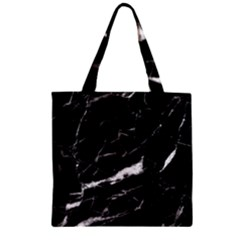 Black Texture Background Stone Zipper Grocery Tote Bag by Celenk