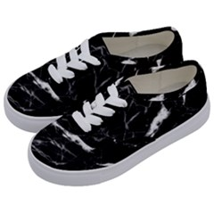 Black Texture Background Stone Kids  Classic Low Top Sneakers by Celenk