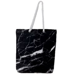 Black Texture Background Stone Full Print Rope Handle Tote (large) by Celenk