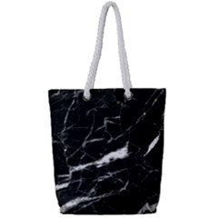 Black Texture Background Stone Full Print Rope Handle Bag (small) by Celenk