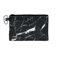 Black Texture Background Stone Canvas Cosmetic Bag (medium) by Celenk