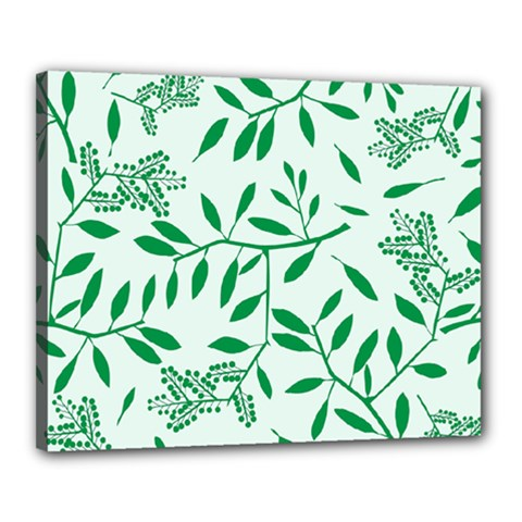 Leaves Foliage Green Wallpaper Canvas 20  X 16  by Celenk