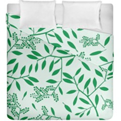 Leaves Foliage Green Wallpaper Duvet Cover Double Side (king Size) by Celenk
