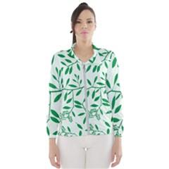 Leaves Foliage Green Wallpaper Wind Breaker (women)