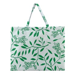Leaves Foliage Green Wallpaper Zipper Large Tote Bag by Celenk