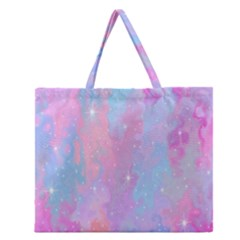 Space Psychedelic Colorful Color Zipper Large Tote Bag by Celenk