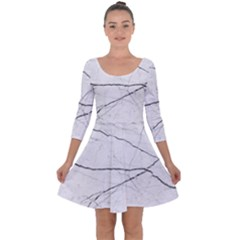 White Background Pattern Tile Quarter Sleeve Skater Dress