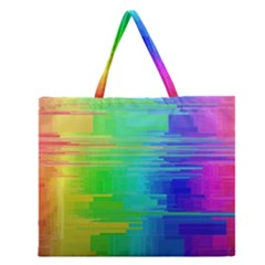 Colors Rainbow Chakras Style Zipper Large Tote Bag by Celenk