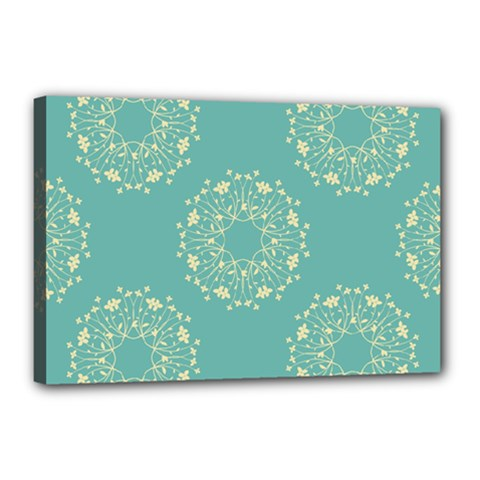 Floral Vintage Royal Frame Pattern Canvas 18  X 12  by Celenk