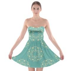 Floral Vintage Royal Frame Pattern Strapless Bra Top Dress