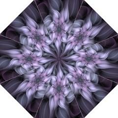 Fractal Flower Lavender Art Hook Handle Umbrellas (large) by Celenk