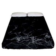 Black Texture Background Stone Fitted Sheet (queen Size) by Celenk