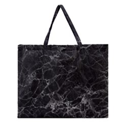 Black Texture Background Stone Zipper Large Tote Bag by Celenk