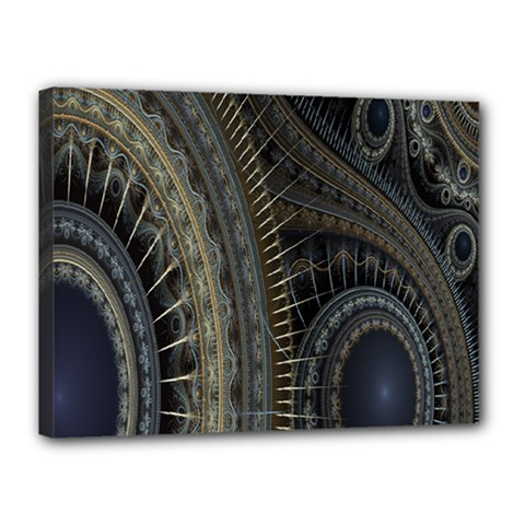 Fractal Spikes Gears Abstract Canvas 16  X 12  by Celenk