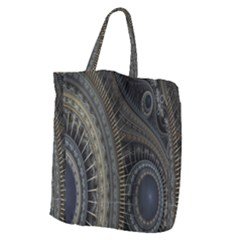 Fractal Spikes Gears Abstract Giant Grocery Zipper Tote by Celenk