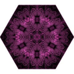 Fractal Magenta Pattern Geometry Mini Folding Umbrellas by Celenk