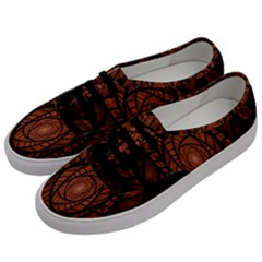 Fractal Red Brown Glass Fantasy Men s Classic Low Top Sneakers by Celenk