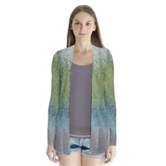 Frosted Glass Background Psychedelic Drape Collar Cardigan by Celenk