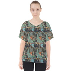 Pattern Background Fish Wallpaper V Neck Dolman Drape Top