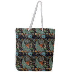 Pattern Background Fish Wallpaper Full Print Rope Handle Tote (large) by Celenk