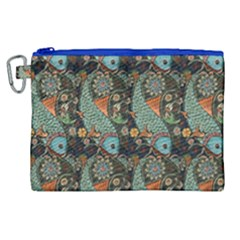 Pattern Background Fish Wallpaper Canvas Cosmetic Bag (xl) by Celenk