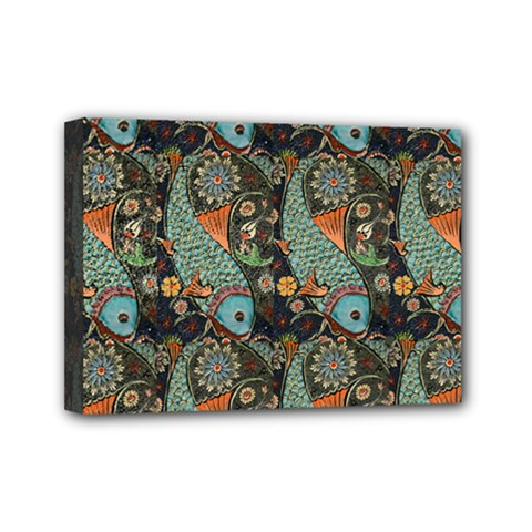 Pattern Background Fish Wallpaper Mini Canvas 7  X 5  by Celenk